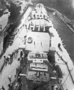 View of the bow of USS North Carolina from the bridge, circa mid-1941