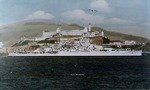 USS Oklahoma passing Alcatraz island, San Francisco Bay, California, United States, 1930s