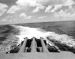 Looking astern on Pensacola during Battle of Midway, 4 Jun 1942; the ships seen were probably destroyer Benham and cruiser Vincennes