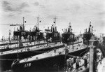 American submarines USS Shark, USS Permit, USS Perch, USS Porpoise, USS Tarpon, and USS Pike at San Diego, California, United States, circa 1939, photo 1 of 2