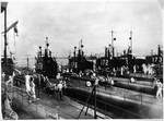 American submarines USS Shark, USS Permit, USS Perch, USS Porpoise, USS Tarpon, and USS Pike at San Diego, California, United States, circa 1939, photo 2 of 2