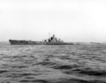 USS Permit off Mare Island Navy Yard, California, United States, 13 Jan 1943, photo 1 of 2; note newly installed port-side external torpedo tube