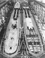 Destroyers Smith and Preston under construction at the Mare Island Navy Yard, California, United States, 1 Jul 1935