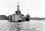 USS McDougal alongside HMS Prince of Wales during Atlantic Charter Conference, Placentia Bay, Newfoundland, Aug 1941