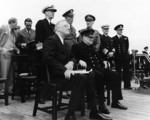 Roosevelt and Churchill at the Atlantic Charter Conference, Placentia Bay, Newfoundland, 10-12 Aug 1941, photo 1 of 2; Hopkins, Harriman, King, Marshall, Dill, Stark, and Pound behind them