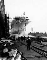 Launch of Princeton, 18 Oct 1942