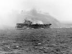 Princeton burning after Japanese attack off Leyte, 24 Oct 1944, 3 of 4