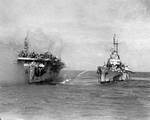 Birmingham attempted to fight fires aboard Princeton, 24 Oct 1944, photo 2 of 2