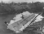 Launching of submarine Puffer, Manitowoc River, Manitowoc, Wisconsin, United States, 22 Nov 1942