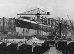 RMS Queen Elizabeth under construction, Clydebank, Scotland, United Kingdom, 1937-1938