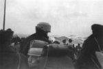 Canadian troops aboard RMS Queen Elizabeth in the Atlantic Ocean, Dec 1945; note large waves in background