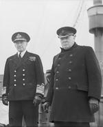 Dudley Pound and Winston Churchill aboard RMS Queen Mary in the United States, May 1943