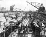 R-3, R-2, R-1, and five other R-class submarines in dry dock at the Mare Island Naval Shipyard, California, United States, early 1920s