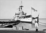 HMS Repulse docked at Haifa, Palestine, Jul 1938, photo 1 of 4