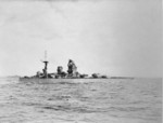 HMS Rodney in the Firth of Forth, Scotland, United Kingdom, Aug 1940; note a destroyer in background; photo taken from destroyer HMS Javelin