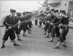 Sailors conducting bayonet drill aboard HMS Rodney, circa 1940