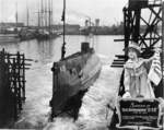 Launching of submarine S-35, San Francisco, California, United States, 27 Feb 1919
