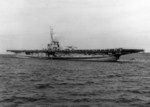 USS Sable at anchor in West Grand Traverse Bay, off Traverse City, Michigan, United States, 10 Aug 1943; note two TDN-1 assault drone on the flight deck