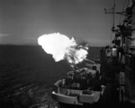 USS Saint Paul firing the final US Navy salvo of the Korea War, off Wonsan, Korea, 27 Jul 1953