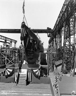 Salmon ready for launching at the Electric Boat Company shipyard, Groton, Connecticut, United States, 12 Jun 1937