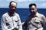 Lieutenant Collins and Chief Pay Clerk Carmine Palumbo of USS Sanborn, circa 1945