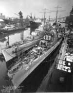 USS San Diego and USS San Juan, Fore River shipyard, Quincy, Massachusetts, United States, Jan 1942