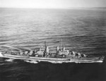 USS San Diego underway, 8 Mar 1944; seen from an airship of US Navy Blimp Squadron 32