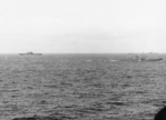 USS Saratoga (left), USS Atlanta (right), and other warships off Guadalcanal, Solomon Islands, 21 Aug 1942