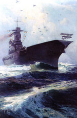 Painting of USS Lexington by Walter L. Greene, 1927, depicting the ship launching aircraft