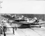 TBD-1 Devastator aircraft of US Navy squadron VT-3 preparing to launch from USS Saratoga, circa 1938-1940