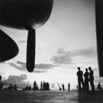 View of the flight deck of USS Saratoga, Solomon Islands, Nov 1943