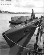Sargo at Mare Island Navy Yard, 28 Apr 1943, white outline indicate recent alterations, photo 1 of 2