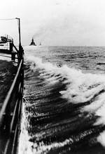 Gneisenau and Scharnhorst trailing Prinz Eugen during the Channel Dash, Feb 1942, photo 1 of 3