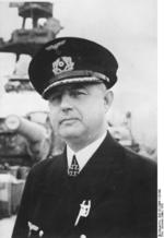 Kapit?n zur See Kurt-Caesar Hoffmann of German battleship Scharnhorst with just-awarded Knight