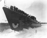 Launching of submarine Segundo, Portsmouth Navy Yard, Kittery, Maine, United States, 5 Feb 1944