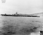 Broadside view of USS Segundo departing Mare Island Naval Shipyard, California, United States, 24 Apr 1946, photo 1 of 2