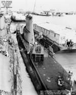 Aft plan view looking forward of USS Carbonero at Mare Island Naval Shipyard, California, United States, 18 Feb 1952, photo 1 of 2; note USS Diodon outboard and USS Segundo forward