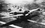 A6M2 Model 21 Zero fighter of Lieutenant Hideki Shingo preparing to take off from carrier Shokaku during Battle of Santa Cruz, 26 Oct 1942