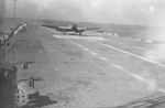B5N Type 97 torpedo bomber landing on Japanese carrier Shokaku, somewhere in the South Pacific, 18 Mar 1943