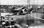 Type 00 Fighters prepare for launch from the Shokaku, Battle of the Santa Cruz Islands, 26 Oct 1942