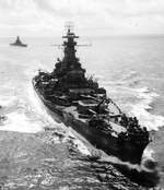 US battleships South Dakota and Alabama on their way to the Marshall Islands to shell Roi and Namur islands, 1 Feb 1944