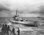 View of United States Coast Guard cutter Spencer taken from sister ship Duane, North Atlantic, 500 nautical miles WSW of Ireland, Apr 1943