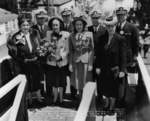 Mrs. Tisdale, RAdm E L Cochrane, Mrs. Gieselmann, RAdm M S Tisdale, Jean Gieselmann, Capt A O Gieselmann, Mrs. Klein, and Capt G C Klein at the launching of Spot, Mare Island Naval Shipyard, Vallejo, California, United States, 19 May 1944