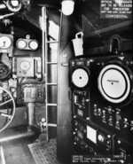 Inside the conning tower of USS Spot, Mare Island Naval Shipyard, Vallejo, California, United States, 19 Sep 1944
