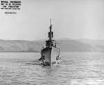 Bow view of USS Spot, off Mare Island Naval Shipyard, Vallejo, California, United States, 22 Sep 1944