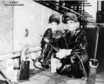 Honorary welders C. R. Campbell and Georg Lyon at the keel laying of submarine Spot, Mare Island Naval Shipyard, Vallejo, California, United States, 24 Aug 1943