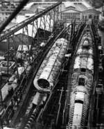 Submarines Springer (less complete) and Spot under construction, Mare Island Naval Shipyard, Vallejo, California, United States, 3 Jan 1944, photo 1 of 4
