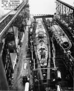 Submarines Springer (less complete) and Spot under construction, Mare Island Naval Shipyard, Vallejo, California, United States, 3 Jan 1944, photo 2 of 4