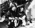 Welders at the keel laying ceremony of submarine Springer, Mare Island Naval Shipyard, Vallejo, California, United States, 30 Oct 1943