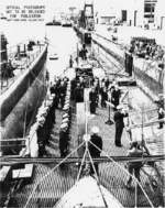 Commissioning ceremony of USS Sunfish, Mare Island Naval Shipyard, Vallejo, California, United States, 15 Jul 1942; note submarine Tunny alongside